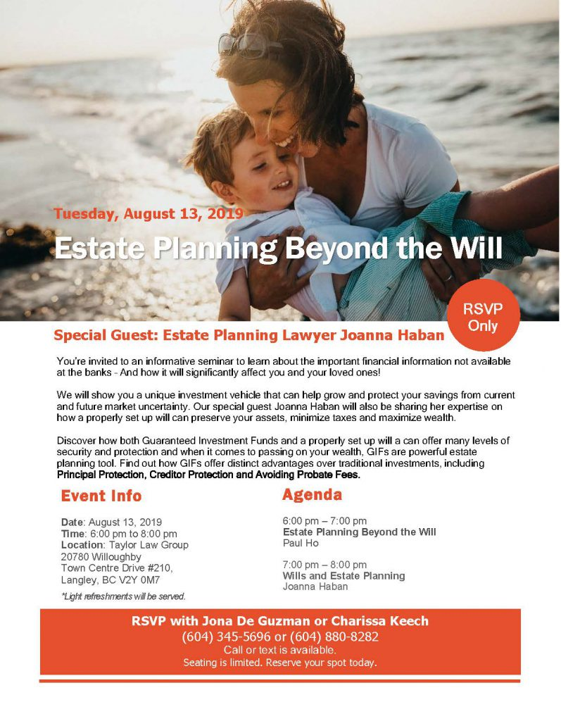 Estate Planning Seminar-August 13th 2019